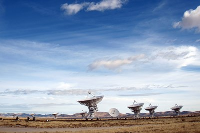 Radio telescopes dot the landscape of the Karl G. Jansky Very Large Array